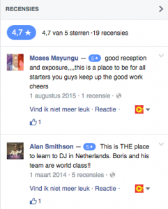 reviews on Facebook on DJ School Utrecht